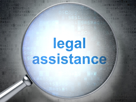criminal act: Law concept: magnifying optical glass with words Legal Assistance on digital background Stock Photo