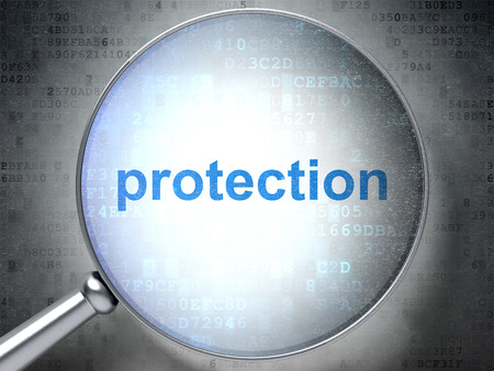 digital background: Safety concept: magnifying optical glass with words Protection on digital background