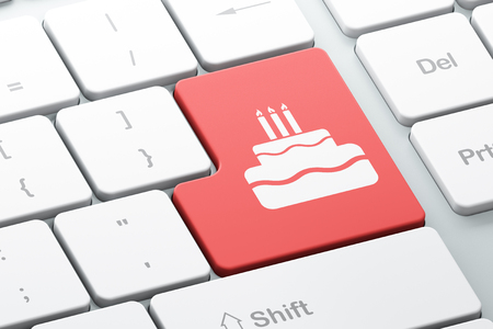 Holiday concept: Enter button with Cake on computer keyboard background, 3d render Foto de archivo