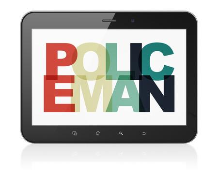 法の概念: 塗装済み完成品の色付きのテキスト警官ディスプレイ上でタブレット コンピューター