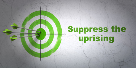 suppress: Success politics concept: arrows hitting the center of target, Green Suppress The Uprising on wall background Stock Photo