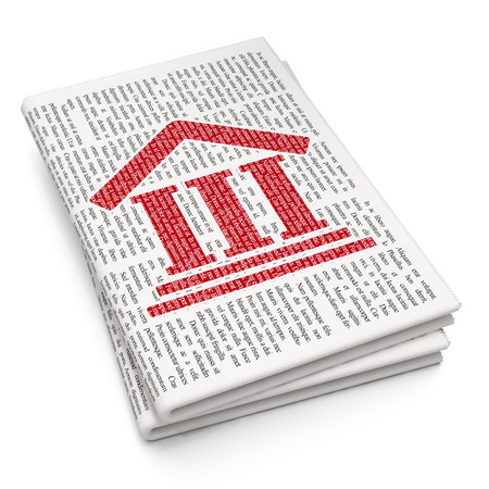 courthouse: Law concept: Pixelated red Courthouse icon on Newspaper background