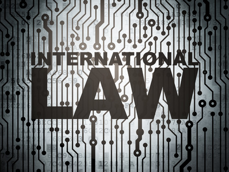 international law: Politics concept: circuit board with  word International Law, 3d render
