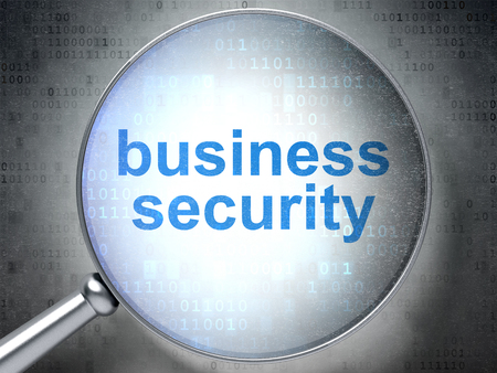 passkey: Security concept: magnifying optical glass with words Business Security on digital background