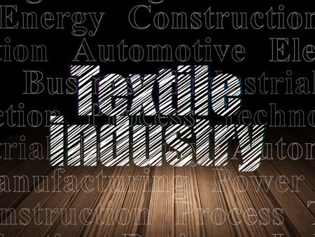 industria textil: Industry concept: Glowing text Textile Industry in grunge dark room with Wooden Floor, black background with  Tag Cloud
