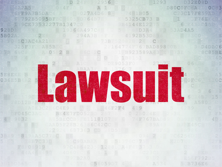criminal act: Law concept: Painted red word Lawsuit on Digital Paper background