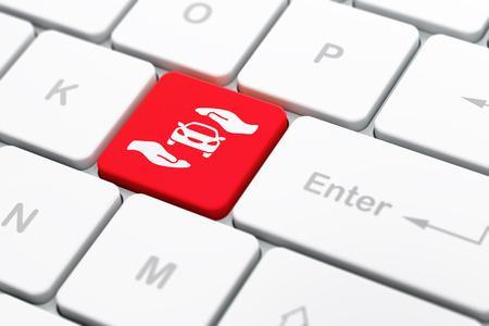 保険の概念: 車と手のひらのアイコンとコンピューターのキーボード入力ボタンの背景、選択したフォーカス、3 d のレンダリング 写真素材