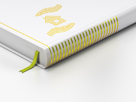 gold house: Insurance concept: closed book with Gold House And Palm icon on floor, white background, 3d render Stock Photo