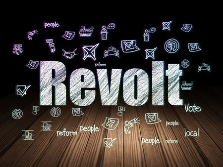 revolt: Politics concept: Glowing text Revolt,  Hand Drawn Politics Icons in grunge dark room with Wooden Floor, black background