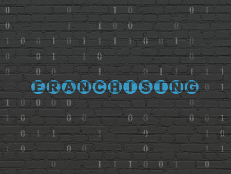franchising: Finance concept: Painted blue text Franchising on Black Brick wall background with Binary Code Stock Photo