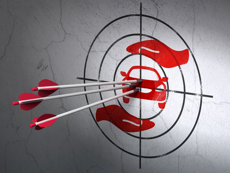 car care center: Success Insurance concept: arrows hitting the center of Red Car And Palm target on wall background