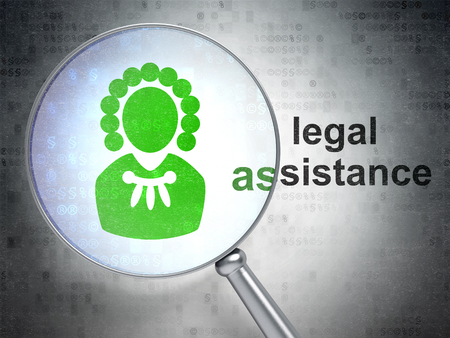 data protection act: Law concept: magnifying optical glass with Judge icon and Legal Assistance word on digital background Stock Photo