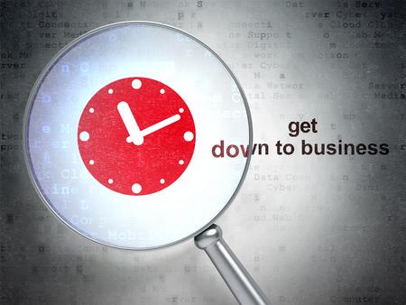 cronologia: Concepto de negocio: la lupa �ptica con el icono del reloj y ponerse manos a la palabra negocio en el fondo digital
