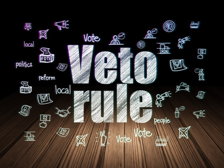 veto: Politics concept: Glowing text Veto Rule,  Hand Drawn Politics Icons in grunge dark room with Wooden Floor, black background