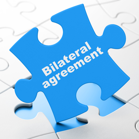 bilateral: Insurance concept: Bilateral Agreement on Blue puzzle pieces background, 3d render