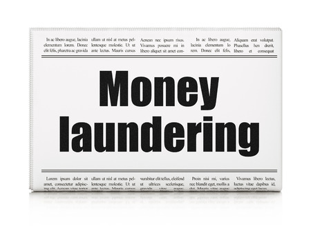 news values: Currency concept: newspaper headline Money Laundering on White background, 3d render Stock Photo