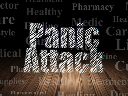 panic attack: Medicine concept: Glowing text Panic Attack in grunge dark room with Wooden Floor, black background with  Tag Cloud