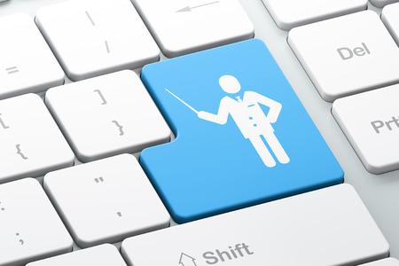 teclado: Concepto de la educaci�n: Bot�n con el maestro en el fondo del teclado del ordenador Enter, 3d Foto de archivo