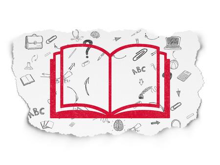 aprendizaje: Aprendizaje de concepto: Pintadas icono libro rojo sobre fondo de papel rasgado con el Esquema de dibujado a mano Iconos Educación