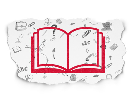 learning process: Learning concept: Painted red Book icon on Torn Paper background with Scheme Of Hand Drawn Education Icons Stock Photo