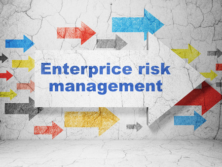 abandoned building: Business concept:  arrow with Enterprice Risk Management on grunge textured concrete wall background