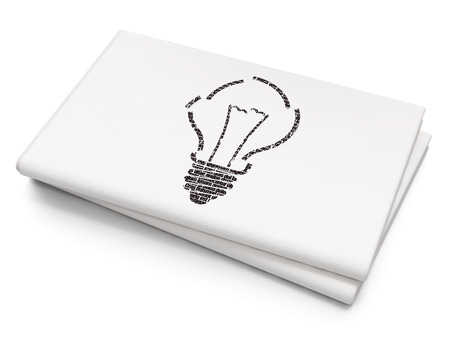 broken strategy: Finance concept: Pixelated black Light Bulb icon on Blank Newspaper background Stock Photo