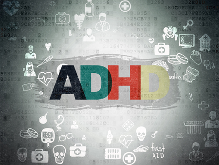 healing process: Health concept: Painted multicolor text ADHD on Digital Paper background with Scheme Of Hand Drawn Medicine Icons