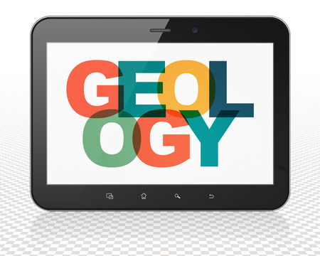 geology: Science concept: Tablet Pc Computer with Painted multicolor text Geology on display Stock Photo