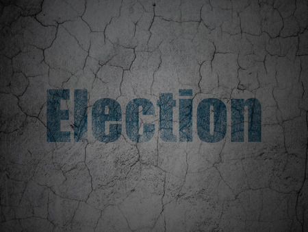 dictatorship: Political concept: Blue Election on grunge textured concrete wall background