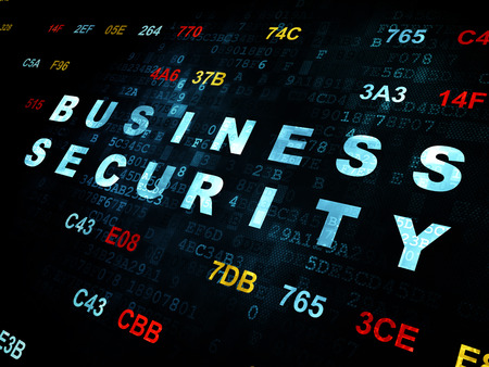 hexadecimal: Security concept: Pixelated blue text Business Security on Digital wall background with Hexadecimal Code