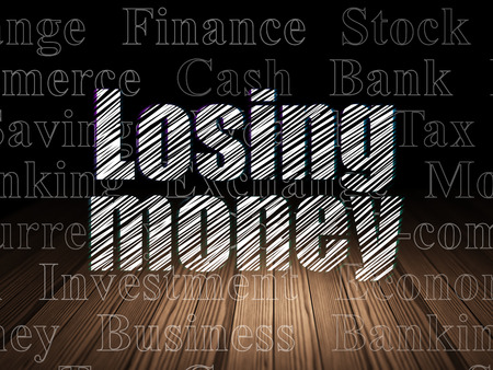 losing money: Banking concept: Glowing text Losing Money in grunge dark room with Wooden Floor, black background with  Tag Cloud Stock Photo