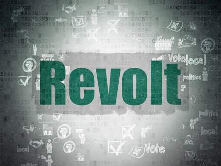 revolt: Political concept: Painted green text Revolt on Digital Paper background with Scheme Of Hand Drawn Politics Icons