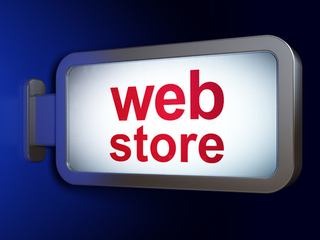 web store: Web design concept: Web Store on advertising billboard background, 3d render