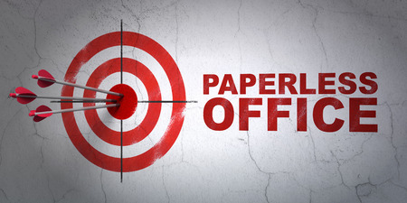 paperless: Success business concept: arrows hitting the center of target, Red Paperless Office on wall background Stock Photo