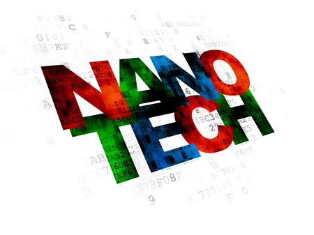 nanotech: Science concept: Pixelated multicolor text Nanotech on Digital background