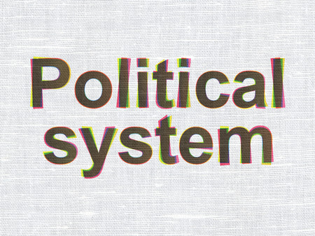 political system: Political concept: CMYK Political System on linen fabric texture background Stock Photo