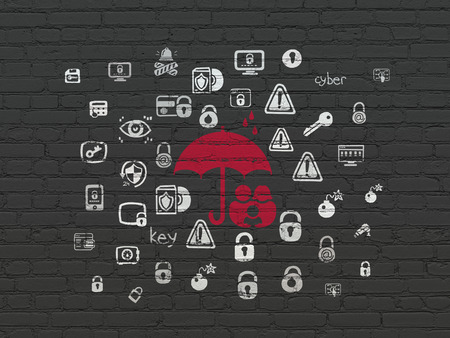 black family: Security concept: Painted red Family And Umbrella icon on Black Brick wall background with  Hand Drawn Security Icons