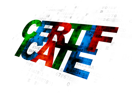 data protection act: Law concept: Pixelated multicolor text Certificate on Digital background
