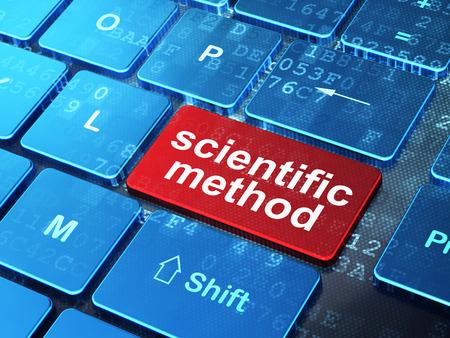 metodo cientifico: Concepto de la ciencia: Teclado de ordenador con palabra Método Científico de entrar en el botón de fondo, 3d