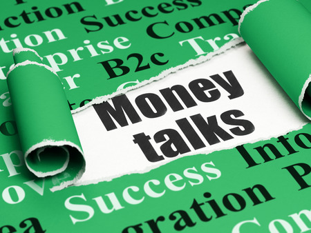 brand damage: Finance concept: black text Money Talks under the curled piece of Green torn paper with  Tag Cloud Stock Photo