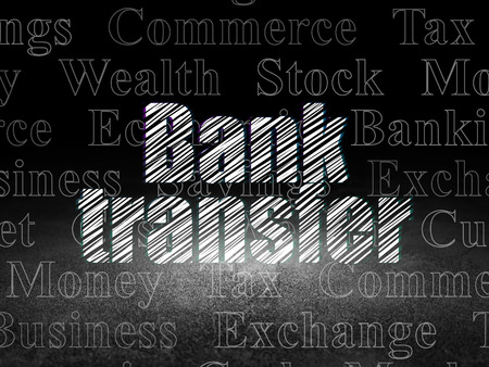bank overschrijving: Currency concept: Glowing text Bank Transfer in grunge dark room with Dirty Floor, black background with  Tag Cloud