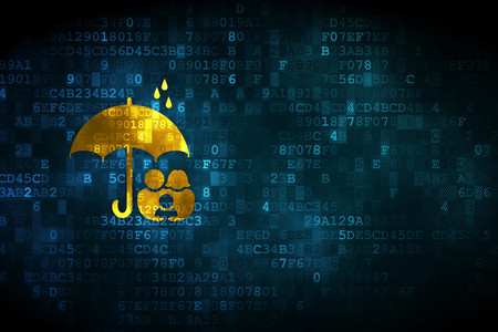 background information: Protection concept: pixelated Family And Umbrella icon on digital background, empty copyspace for card, text, advertising