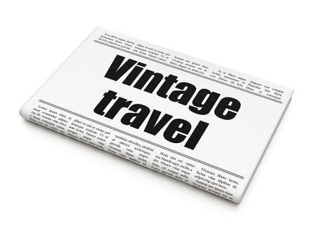 newspaper headline: Travel concept: newspaper headline Vintage Travel on White background, 3d render