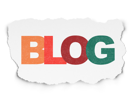 BLOG: Web development concept: Painted multicolor text Blog on Torn Paper background Stock Photo