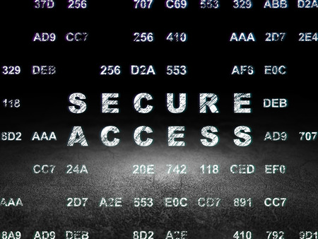 room access: Security concept: Glowing text Secure Access in grunge dark room with Dirty Floor, black background with Hexadecimal Code
