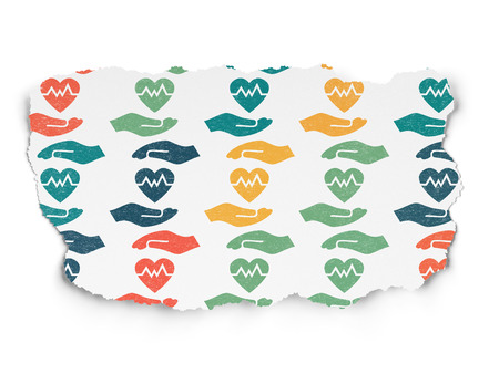 torn heart: Insurance concept: Painted multicolor Heart And Palm icons on Torn Paper background