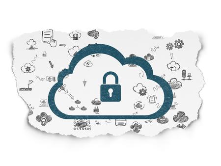 雲のネットワー キングの概念: 青い雲と南京錠引き裂かれた紙の背景にアイコンとアイコン スキームの手描画クラウド技術を塗装 写真素材