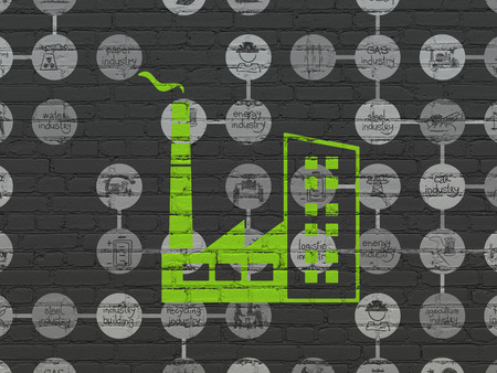 building industry: Industry concept: Painted green Industry Building icon on Black Brick wall background with Scheme Of Hand Drawn Industry Icons Stock Photo