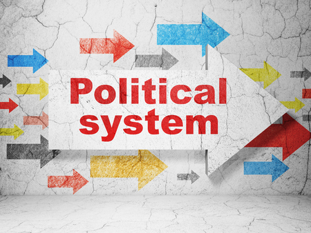 political system: Politics concept:  arrow with Political System on grunge textured concrete wall background