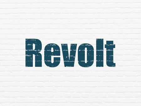 revolt: Political concept: Painted blue text Revolt on White Brick wall background